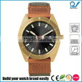 PVD Glod case black dial Stone setting quartz watch calendar stainless steel case with nylon strap watch