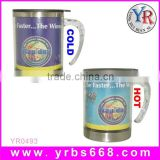 Promotion Custom Design Color Changing Mug Of Inner Stainless Steel And Outer Plastic With Handle