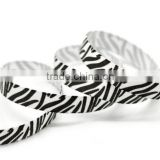 white zebra stripe print single face side grosgrain ribbon, animal print grosgrain ribbon 10 12 25 38 mm