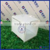 Yageli high acrylic cube ballot box money raising box with sign holder, upscale mini plastic acrylic charity donation box