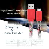 Factory Price TPE Usb Data Transfer Charging Cable Driver for Phone With Flower Printing