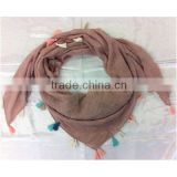 Fashion Polyester Woven Fabric Solid Color Scarf Neckerchief Muffler with Beautiful Tassels Fringe