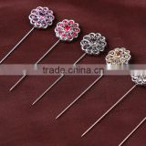 Vintage Crystal Flower China Wholesale Muslim Hijab Scarf Pins Women Popular Shawls Brooch Pins