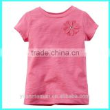 Top quality kids tee shirts wholesale funny kids tee shirts Rosette plain baby shirts