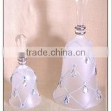 Decorative Clear and Diamond Hanging Glass Bell with Clear Water-drop