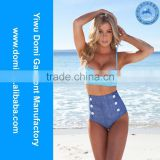 Yiwu Domi wholesale swimwear manufacturer fashion ladies retro vintage high waisted bikinis,woman swimsuits,sex xxl