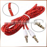 Multi Color 3.5mm 4-pole Jack Male to Male Stereo Fabric Braided Audio Aux Cable Cord for IPod iphone Headphone