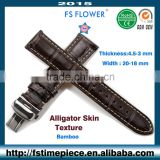 FS FLOWER - Glossy Genuine Leather Strap Crocodile Skin Luxury Quality Watch Parts