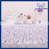 CL037A New Party ruffled curly willow frilly 6ft banquet fancy wedding white Chiffon table cloths