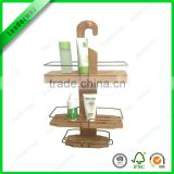 3 tier hanging bamboo bathroom furniture caddy for soap shampoo