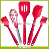5 Piece Dishwasher Safe Silicone Kitchen Baking Utensil Set - Spatula, Spoon, Basting Brush, Egg Whisk, and Slotted Turner