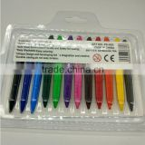 CE, EN71-Erasable Triangle Crayon, Children, Kids Art Stationery High Quality Non-Toxic 12Pcs Plastic Crayon