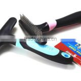 Knot Cutter Remove Rake Grooming Shedding Brush Pet Dematting Comb for Dogs Cats Stainless Steel Blade - Perfect tool for Dogs