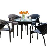 Hot Sale Dining Arm Chair And Table Rattan Wicker Aluminum Frame Tempered Glass Outdoor