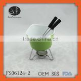 porcelain,stonware Material and fondue set Dessert Tools Type chocolate warmer mini fondue cup with forks,fondue set