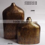 round Hammered patterns Vase flate oval shape in antique brass finish made in Sheet Aluminium