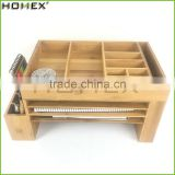 Bamboo Office Desk Organizer Caddies for Office Homex-BSCI Factory