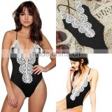 Sexy Women Summer Beachwear Lace One Piece Straps Swimsuit Swimwear Bikini