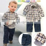 2016 Wholesale Boy Clothing Sets Grid Causal T Shirt And Jean Pants Baby Suits For Children Wear