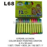 L68 6 PEARL & 6 NEON COLOR BODY PAINTING CRAYONS