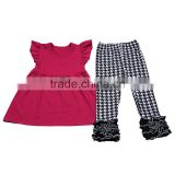New arrival popular wholesale cheap girls dress pants clothing set plaids ruffle icing pants 2pcs boutique outfits kids clothes
