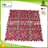 Poinsettia Shimmery Red Christmas Decor Sequins Tablecloth Runner Topper