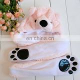 wholesale animal plush hats with mittens boy girl children kids plush animals hats with paws