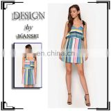 Chinese clothing manufacturers Stripe Bow Dress Fashion Design Sleeveless Dresses for Women