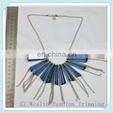 2017 newly fashion bule mirror Resin slice with fringe chain necklace for ladies decoration