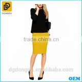 The latest fashion cheapset high waisted yellow bandage pencil skirt and midi skirt for office lady