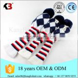OEM golf headcover knit pom pom classic headcover knit 3 pcs headcover set pom pom sock covers