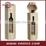 Creative Diamond Single Wine Bottle Case Holder Wine Wooden Box With Window, Wine Display Box Bag