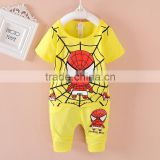 2016 hotsale latest design children clothes set baby boy spiderman shirt and pant piece set wholesale