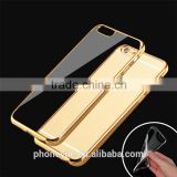 Luxury Ultra-thin Plated Frame Clear Transparent Soft Silicon TPU Back Cover Case for Iphone6