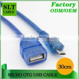 SLT Hot Selling USB 2.0 Micro 5pin OTG Cable Blue