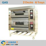 Bakery Gas Oven Front Stainless Steel Gas Stove With Bakery Oven 2 Deck 6 Trays Bakery Equipment Gas Oven (SY-DV26G SUNRRY)                                                                         Quality Choice