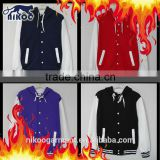 Custom Fine Stitched Cotton/Polyester Hooded Varsity Baseball Jacket Wholesale