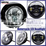 "Custom 7"" Round Front Motocross Driving H4 Projector Headlight Motorcycle Light LED For Harley"