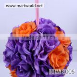 Colorful wedding flower ball ,artificial flower for wedding & party decoration for sale (MWB-005)