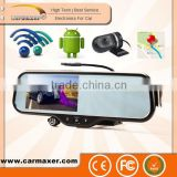 5 inch touch screen android system wifi gps navigation bluetooth rear view mirror dvr for car