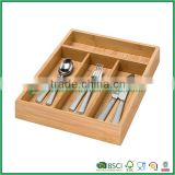 Mini bamboo flatware organizer tray