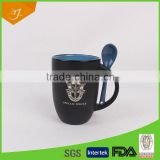 12oz Debossed Mug With Spoon,V-shape Ceramic Mug With Debossed Logo