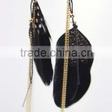 Black Elegant cheap feather earring dangle drop tassel earring wholesale