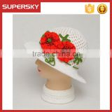 K-103 Wholesale Fashion Beach Cap Sun Hat Summer Kids Straw Hat Floppy Flower Straw Hats With Wide Brim