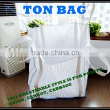 100% polypropylene pp woven high quality 800kg breathable vegetable super sack, carrot container bag