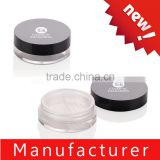 Custom newest round black plastic loose powder jar / case / container / packaging / packing with sifter