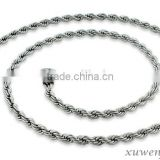 2.4mm silver tone rope 316l oem production stainless steel chain