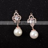 Fashion CZ Sparkling Pearl Pendant, Earring Findings Bridal Bridesmaid Jewelry