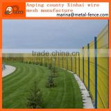 PVC Coated welded mesh fence /3 bends wire mesh fence / triangle femce / with peach square round post factory