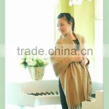 warm and soft camel wool herringbone pashmina shawl